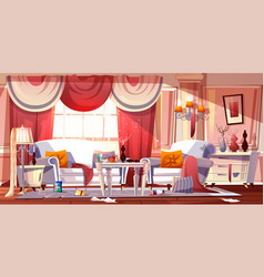 Messy living room full of garbage cartoon vector