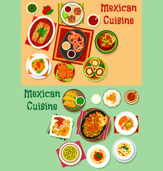 Mexican cuisine lunch dishes with meat snack icon vector