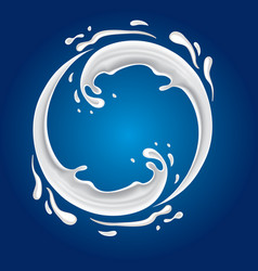 Milk circle splash on blue background vector