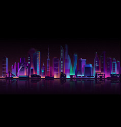 Modern megapolis on river at night vector