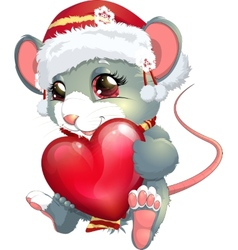Mouse and heart vector
