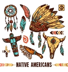 Native Americans Decorative Icon Set vector image