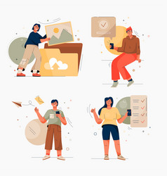 Onboarding isolated scenes set getting to know vector