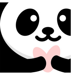 Panda in love declares love and gives a heart vector
