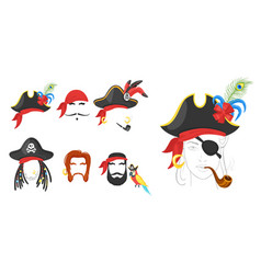 pirate faces elements vector image