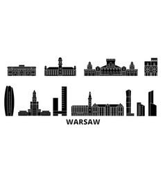 Poland warsaw flat travel skyline set poland vector