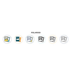 Polaroid icon in filled thin line outline and vector