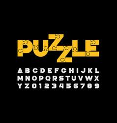 puzzle font vector image