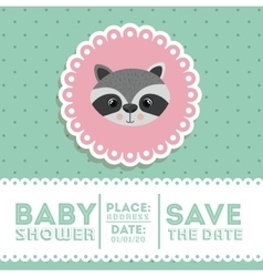 raccoon animal baby shower card icon vector image