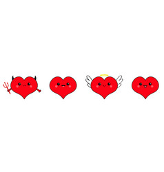 Red heart head face emotion icon set line devil vector