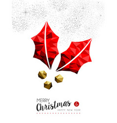 Red mistletoe holly decoration for Christmas vector image