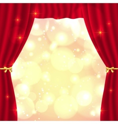 Red opened theatrical curtain vector