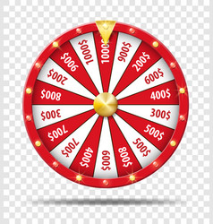 red wheel fortune isolated on transparent vector image
