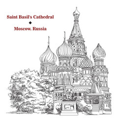 Saint basils cathedral in moscow hand drawing vector
