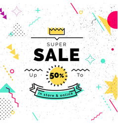 sale poster with geometric shapes super sale vector image