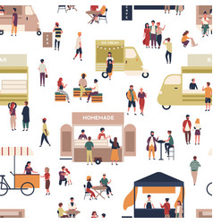 seamless pattern with people walking among vans vector image