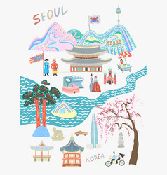 Seoul lovely travel card design - sights and vector