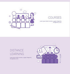Set of courses and distance learning banners vector