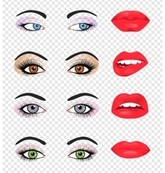 Set of glamour lips with pink lipstick color vector