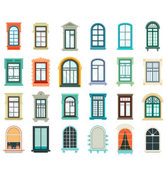 set of plastic and wooden window frames vector image