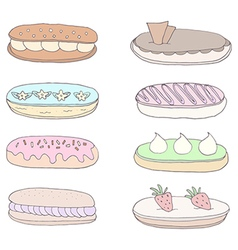 Set of the delicious eclairs vector image