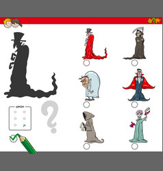 shadows game with cartoon halloween characters vector image