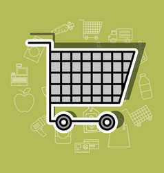 shopping cart supermarket commerce image vector image