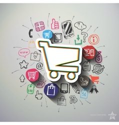 Shopping collage with icons background vector image vector image