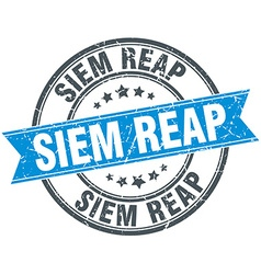Siem Reap blue round grunge vintage ribbon stamp vector