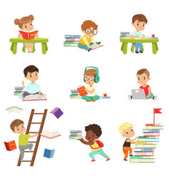 Smart little kids reading books set cute vector