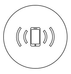 Smartphone emits radio waves sound wave emitting vector