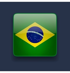 Square icon with flag of Brazil vector image