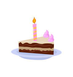 Sweet brownie cake with one candle and cream decor vector