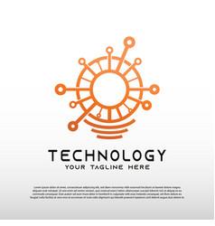 Technology logo with light bulb concept bulb idea vector
