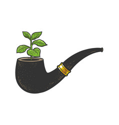 Tobacco in smoking pipe sketch vector