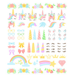 Unicorn flat constructor kit vector