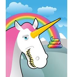 Unicorn on landscape Turd unicorn Rainbow of shit vector image
