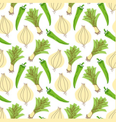 vegetable pattern with composition onions garlic vector image