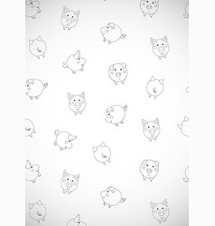 Vertical greeting card with cute cartoon contour vector