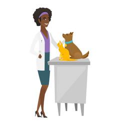 Veterinarian examining pets vector