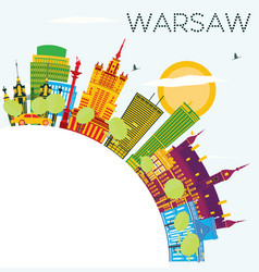 Warsaw skyline with color buildings blue sky and vector