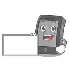 With board ipad in a mascot bag vector