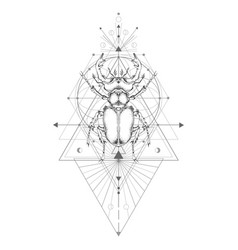 With hand drawn stag beetle and sacred geometric vector