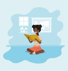 young black student girl sitting reading book vector image