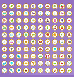 100 hobby icons set in cartoon style vector image