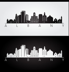 albany usa skyline and landmarks silhouette vector image