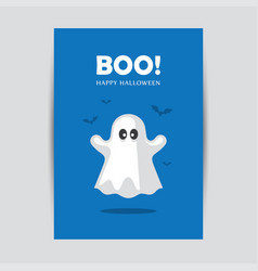 blue halloween greeting card with ghost vector image vector image