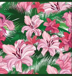 floral seamless pattern tropical fowers jungle vector image
