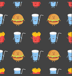 franch fries burger and cola seamless pattern vector image