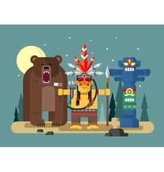 Injun character with bear vector image vector image